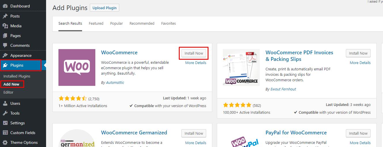 Το WooCommerce όπως εμφανίζεται στο WordPress Dashboard